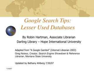 Google Search Tips: Lesser Used Databases