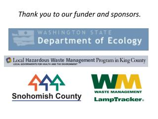Thank you to our funder and sponsors.
