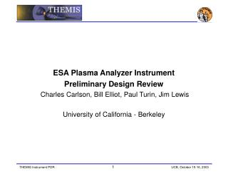 ESA Plasma Analyzer Instrument Preliminary Design Review