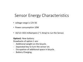 Sensor  Energy Characteristics