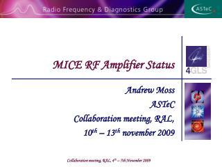 MICE RF Amplifier Status