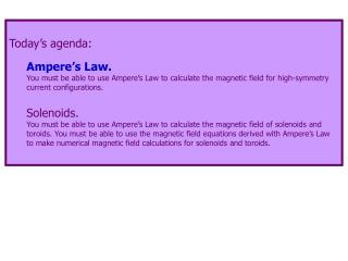 Today's agenda: Ampere's Law.