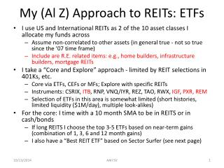 My (Al Z) Approach to REITs: ETFs