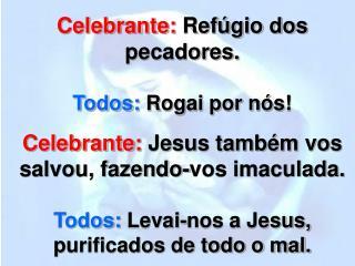 Celebrante:  Refúgio dos pecadores. Todos:  Rogai por nós!