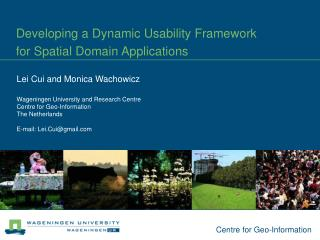 Developing a Dynamic Usability Framework  for Spatial Domain Applications