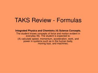 TAKS Review - Formulas