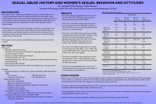 SEXUAL ABUSE HISTORY AND WOMEN'S SEXUAL BEHAVIOR AND ATTITUDES