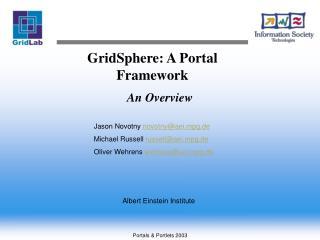 GridSphere: A Portal Framework