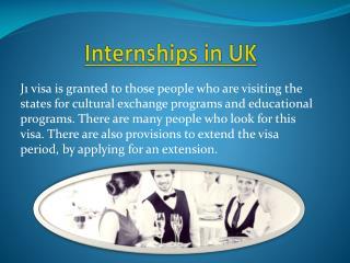 J 1 Internship & Intership in UK