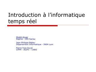Introduction à l'informatique temps réel