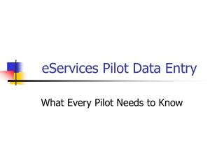eServices Pilot Data Entry