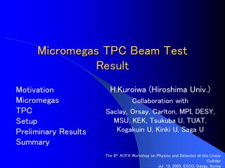 Micromegas TPC Beam Test Result