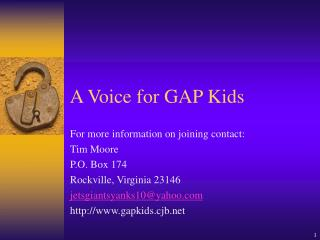 A Voice for GAP Kids