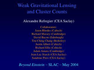 Weak Gravitational Lensing  and Cluster Counts