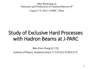 Study of  Exclusive  Hard Processes with Hadron Beams at  J-PARC