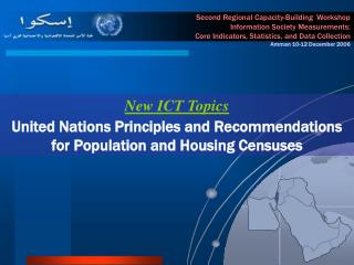 New ICT Topics United Nations Principles and Recommendations for Population and Housing Censuses