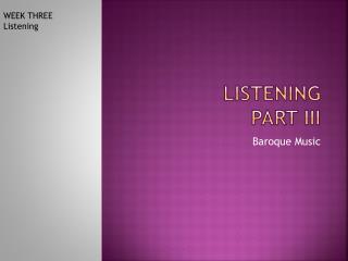 LISTENING PART iii