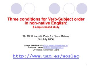 Three conditions for Verb-Subject order in non-native English: A corpus-based study