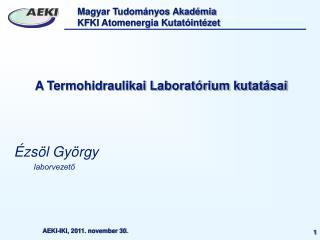 A Termohidraulikai Laboratórium kutatásai