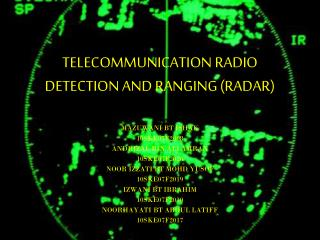 TELECOMMUNICATION RADIO DETECTION AND RANGING (RADAR)