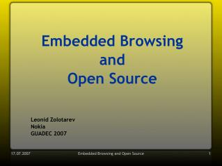 Embedded Browsing and Open Source