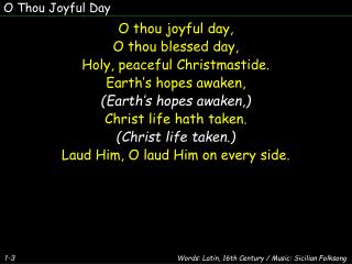 O Thou Joyful Day