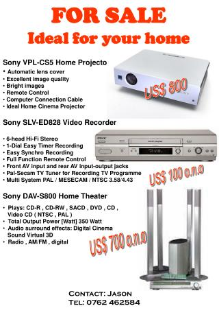 Sony VPL-CS5 Home Projector Automatic lens cover   Excellent image quality  Bright images