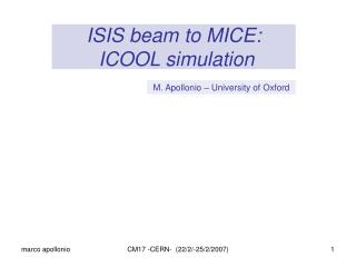 ISIS beam to MICE:   ICOOL simulation
