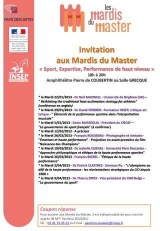 Invitation  aux Mardis du Master «Sport, Expertise, Performance de haut niveau» 18h à 20h