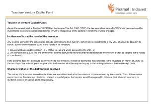 Taxation- Venture Capital Fund