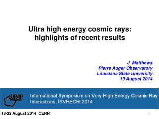 Ultra high energy cosmic rays: highlights of recent results