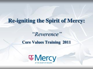 "Re-igniting the Spirit of Mercy:   ""Reverence"""