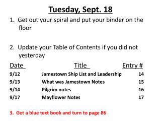 Tuesday ,  Sept.  18