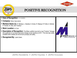 Date of Recognition :  11-12-2013 Company :  Miken Specialties