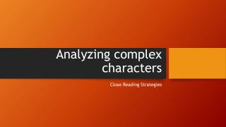 Analyzing complex characters