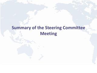 Summary of the Steering Committee Meeting