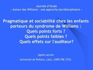 Journée d'étude  «Autour des Williams : une approche pluridisciplinaire»