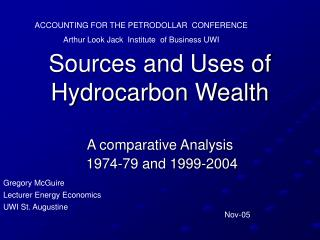 Sources and Uses of Hydrocarbon Wealth
