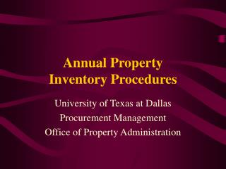 Annual Property  Inventory Procedures
