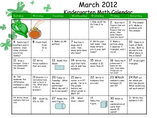 March 2012 Kindergarten Math Calendar