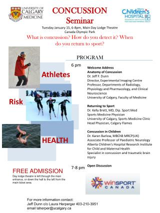 CONCUSSION Seminar Tuesday January 15, 6-8pm, Main Day Lodge Theatre Canada Olympic Park