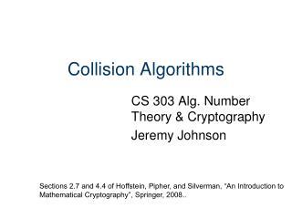 Collision Algorithms