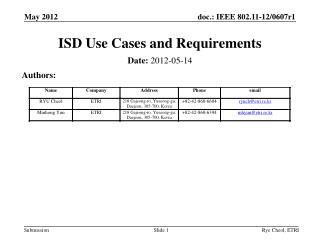 ISD Use Cases and Requirements
