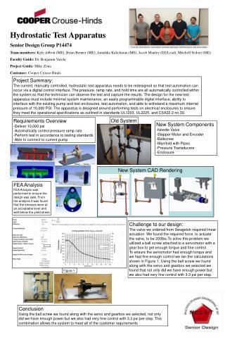 Hydrostatic Test Apparatus  Senior Design Group P14474