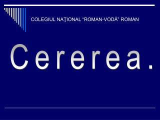 """COLEGIUL NAŢIONAL """"ROMAN-VODĂ"""" ROMAN"""
