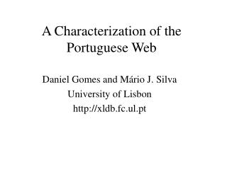 A Characterization of the Portuguese Web