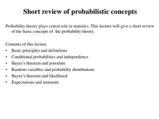 Short review of probabilistic concepts