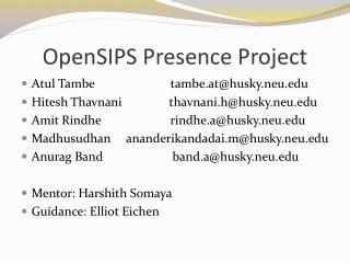 OpenSIPS  Presence Project