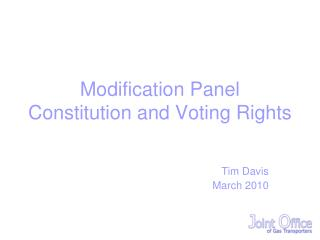Modification Panel Constitution and Voting Rights