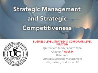 BUSINESS LEVEL STRATEGY & CORPORATE LEVEL STRATEGY Ign Teodore Teddy Saputra MBA